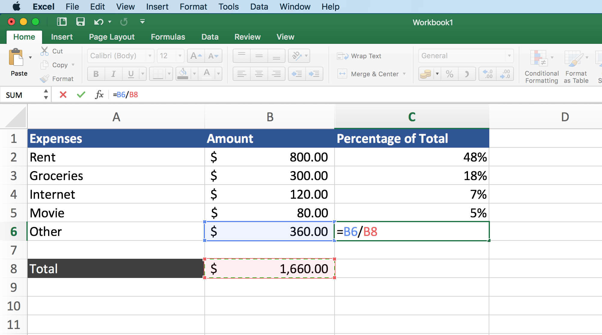 Formula for Percentage of Total in Excel   Learn Microsoft Excel