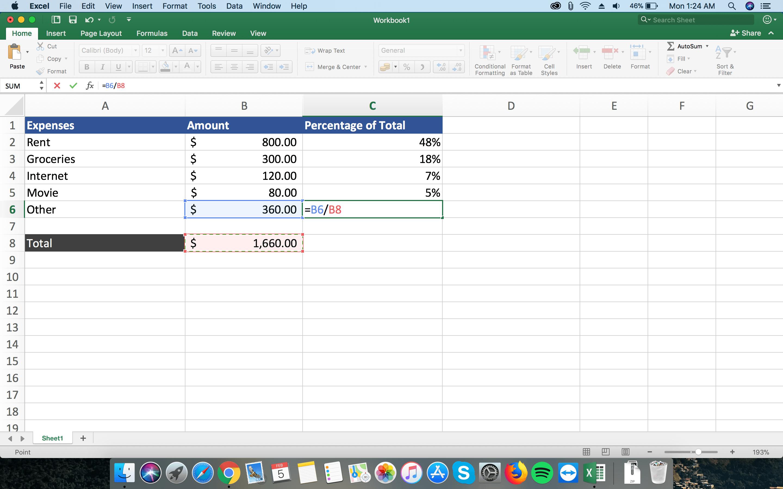 Formula for Percentage of Total in Excel