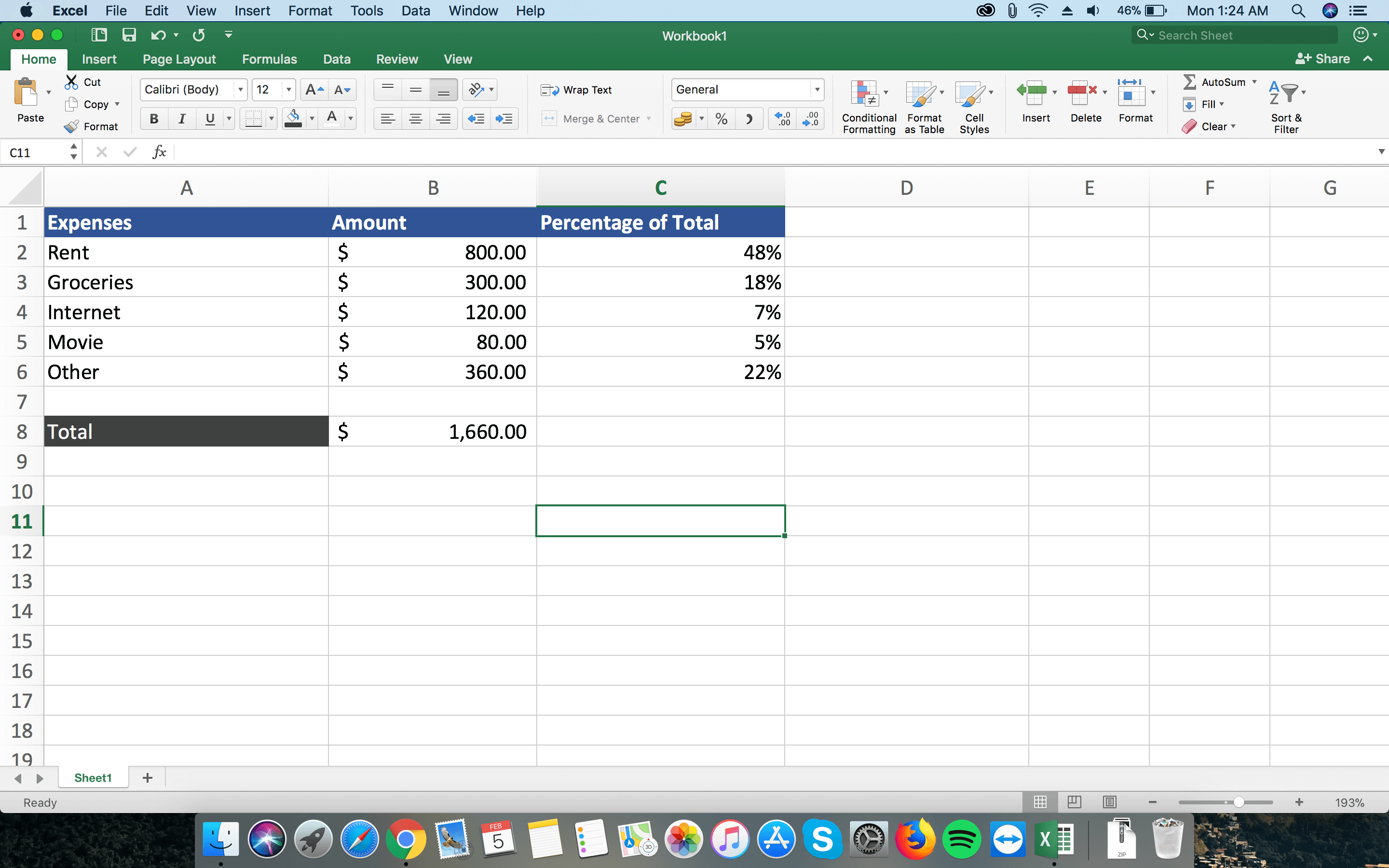 Formula for Percentage of Total in Excel